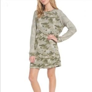 Rails Georgia camo raglan sleeve dress NWOT